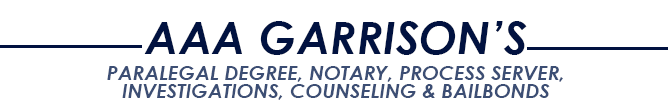 Logo, AAA PARALEGAL DEGREE, NOTARY, PROCESS SERVER, INVESTIGATIONS, COUNSELING & BAILBONDS - Legal Services